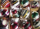 Vintage Christmas Shiny Brite Box Fuchsia Striped Bell Double Indent Ornaments