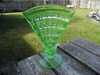 Vaseline Uranium Green Glass Vase Flared Fan Vase