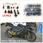 Universal Aluminum Black 177 Pcs Fairing Bolt Kit Bodywork Screws For Motorcycle