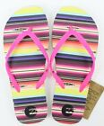 Billabong Womens Strand Stripe Flip Flops Sandals White Pink 6 New