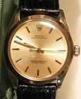 Mens Rolex Solid 14K Yellow Gold Oyster Perpetual Watch, Gold Face, box