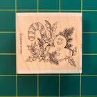 Stampin Up 1997 Gingerbread Man Candy Cane Holly Rubber Stamp Christmas Retired