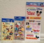 3 Pack lot of Disney Scrapbook Stickers Magic Kingdom Trip Mickey Mouse Friends
