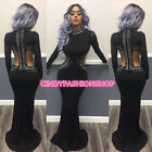 USA Women High Neck Hollow Out Evening Gown Mermaid Long Maxi Prom Dress