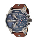 New Diesel Mr Daddy 2.0 Gunmetal Blue Brown Leather 4 Time Zone Men Watch DZ7314