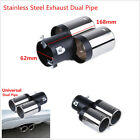 Universal 62mm Car SUV Chrome Stainless Steel Exhaust Muffler Tip Tail Dual Pipe