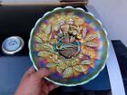 Northwood Aqua Opal Peacocks  Urn Master Ice Cream Bowl A Friggin Killer
