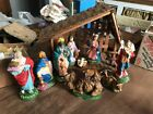 10 Piece Vintage CHRISTMAS Hand Painted ITALY Nativity SCENE 11 Manger