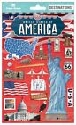 Scrapbooking Crafts Stickers 2D Travel America Liberty Route 66 Flag Capitol USA