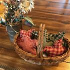 New Homespun Plaid Ornies Bowl Fillers Rag PrImITive Stars Green Red Christmas