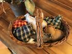 New Homespun Plaid Ornies Bowl Fillers PrImITive Hearts Mix Red Green Blue Stars