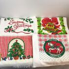 4 Vintage Kitchen Christmas Towels Bells Tree Holly Berries Rocking Horse