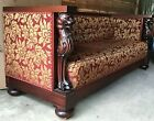 American Mahogany Carved Figural Lion/Griffin Sofa W/ Tufted Back Italian Fabric