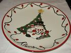 Fitz and Floyd Round Platter Cheers w/ Christmas Tree, Snowman, String of Light