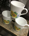 3 Corelle Corning Sunsations Yellow Sunflower Blue Gingham Plaid Coffee Cup Mug