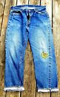 RARE 505 BIG E VINTAGE JEANS YELLOW STITCHING 50S SINGLE STITCH 33X30