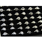 Lot 12pcs unique charm Mixed style hollow stainless steel Open ring