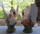 TWO Fitz and Floyd Tulip Swan Standing Candle Holders