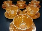 Fire King Peach Lustre 6 cups and 6 saucer set