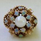 VINTAGE ART DECO NATURAL OPAL & PEARL 14K GOLD FLOWER BASKET RING~BIG 9.8 GRAMS!