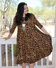 PLUS SIZE CLASSY ANIMAL LEOPARD PRINT BOHO CAREER SHIFT MIDI DRESS 1X 2X 3X USA