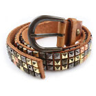 Callashop Handmade Vintage leather Camel Spike studded Jean Belt Waistband