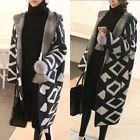 Women's Geometry Pattern Long Sleeve Hooded Coat Full Length Cardigan Jacekt Q63