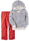 CARTERS 2T Toddler Boys 2 Piece Hoodie Shirt  Red Pants Set NWT
