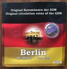 EAST GERMANY DEMOCRATIC DDR 6 COIN SET with GENUINE PIECE of the BERLIN WALL