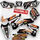2004 KTM EXC 200 250 300 450 525 GRAPHICS KIT RIDGELINE WHITE / ORANGE DECALS