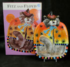 New FITZ & FLOYD Canape Snack Plate Halloween KITTY WITCHES w/Spiders NIB