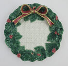 FITZ & FLOYD Christmas Wreath Canape Plate 'Holiday Leaves' Embossed 3D Bow 1994
