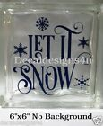 Let it Snow fancy Christmas Decal Sticker for 8 Glass Block DIY Crafts