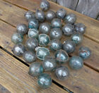 Vintage Japanese Round Glass Fishing Floats Most W/ Netting, 2