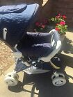 Graco 790ND Series Navy Blue Polka Dots Stroller with Striped Lining VGUC