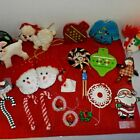 Mixed Lot of 21 Vintage CHRISTMAS TREE ORNAMENT Handmade Santa Claus Dog Candle