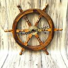 Brass Fishing Wall Boat 24 Inch Nautical Wooden Ship Steering Wheel Pirate Decor