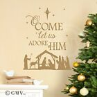 Nativity O Come Let Us Adore Him wall saying vinyl lettering decal home decor