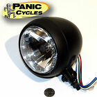 4 1 2 FLAT BLACK SMOOTH HEAD LIGHT PRO STREET CHOPPER CAFE RACER HARLEY BOBBER