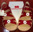 NEW ELEFANTEN Girls Red  White Patent Leather Sandals Easy Strap Sz 34 US 2