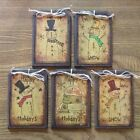 --NEW-- 5 Handcrafted Wooden PRIM Snowman Ornaments, HangTags, Gift Tags SET1