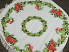 Vintage Christmas Tablecloth Cotton Fabric 50 Round + Fringe Poinsettias Greens