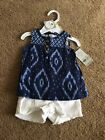 NWT Carters Girl 3M Blue White Outfit Set 34