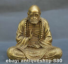 "7.5"" Collect Chinese Bronze Fengshui Gild Damo Dharma Bodhidharma Arhat Statue"