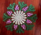 VINTAGE HAND CROCHET GRAPE DOILY LARGE CENTERPIECE 21 GREEN PURPLE WHITE