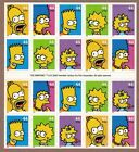 2009 THE SIMPSONS BART ON REVERSE SIDE PANE OF 20 STAMPS SCOTT 4399 4403 MNH