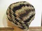 New Hand Crocheted Mens One Size Winter Hat Beanie Cap Multi Colored Brown