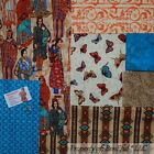 BonEful Fabric COTTON SCRAP QUILT LOT Indian Western Butterfly Calico Print Sale