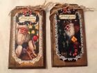 5 WOOD PriM Vintage Santa Christmas Ornaments,PRIM HangTags,Winter ORNIES Set.1