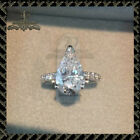 2CT Pear Cut Diamond Solitaire Engagement Ring 10k Solid White Gold